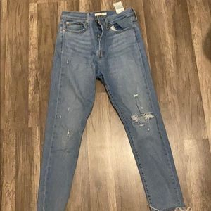Levi high rise ripped jeans